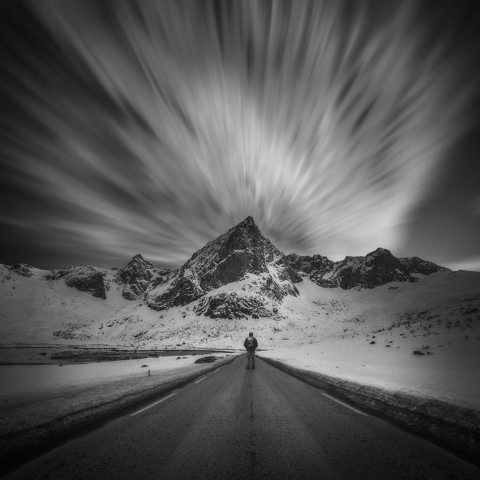 maountains, long exposure, sky, clouds, morway, lofoten, snow, way, road, man, Patrycja