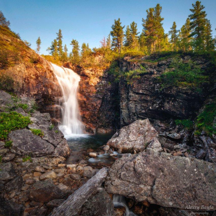 водопад, река, горы, природа, пейзаж, лес, сибирь, лето, закат, Алексей Байфа