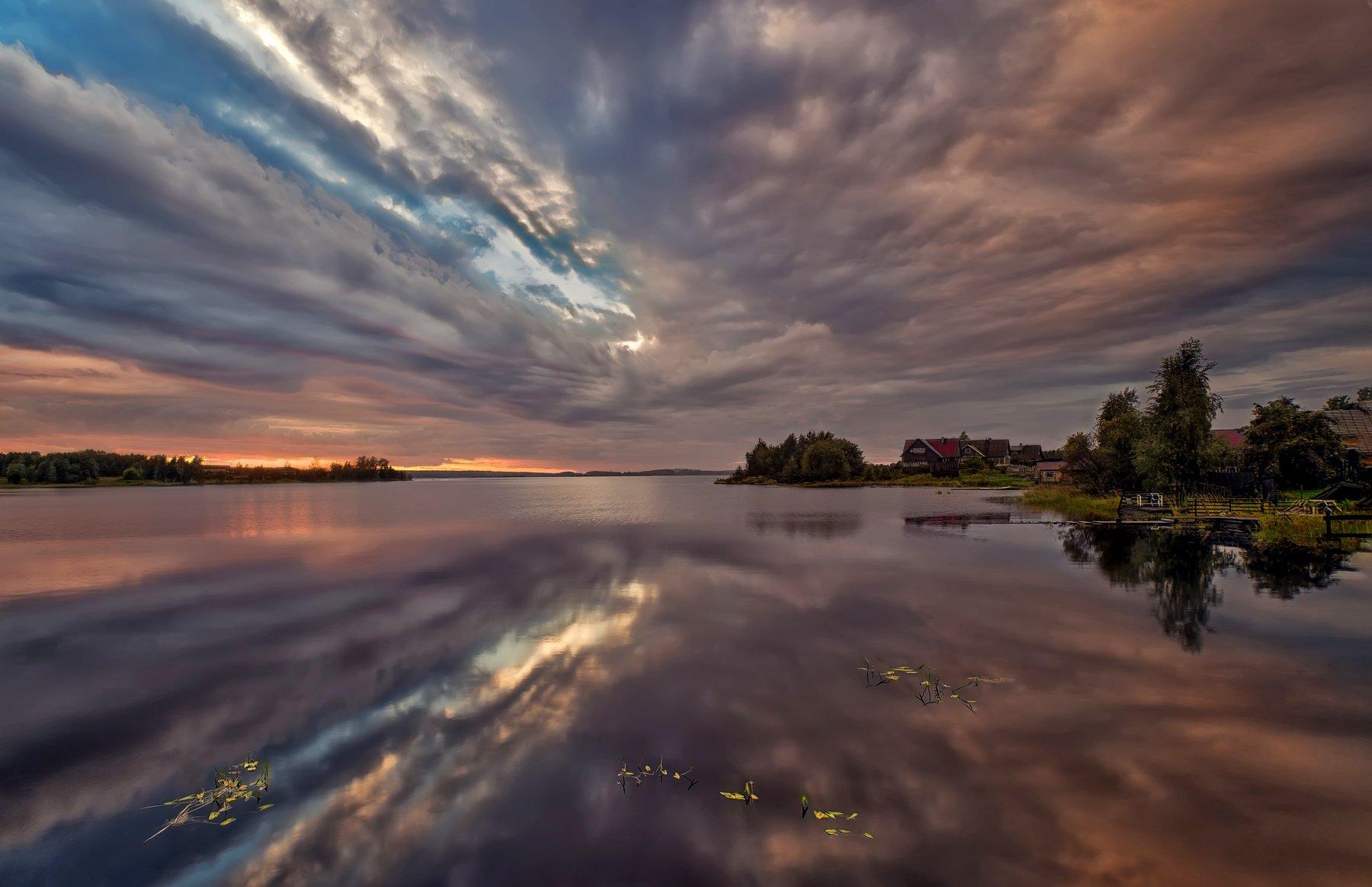 пейзаж,озеро,вечер,закат,деревня, Тамара