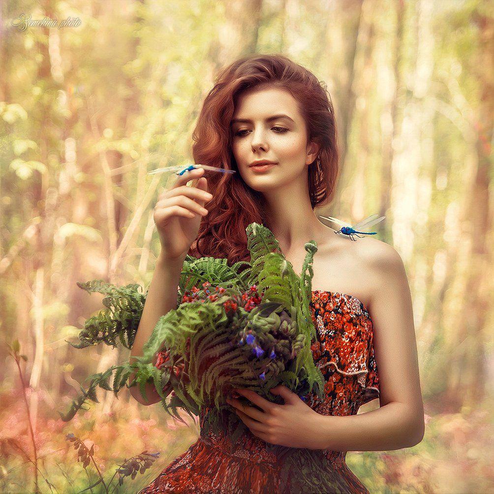 девушка, стрекозы, лето, лес, природа, портрет, girl, summer, portreit, dragonfly, magic, fairytale, Марина Семёхина