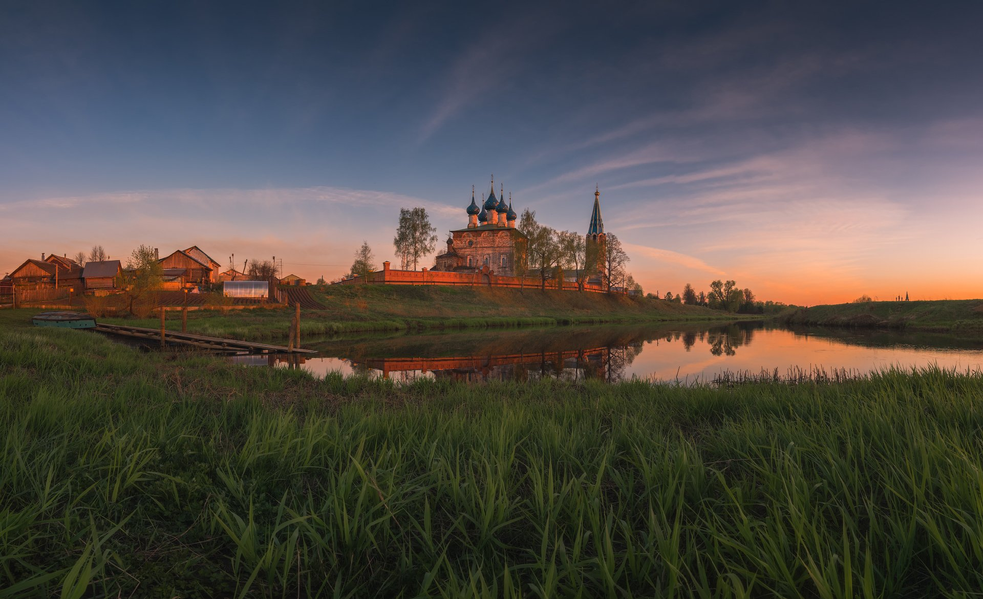 закат, вечер, река, пейзаж, дунилово, весна, Виталий Левыкин