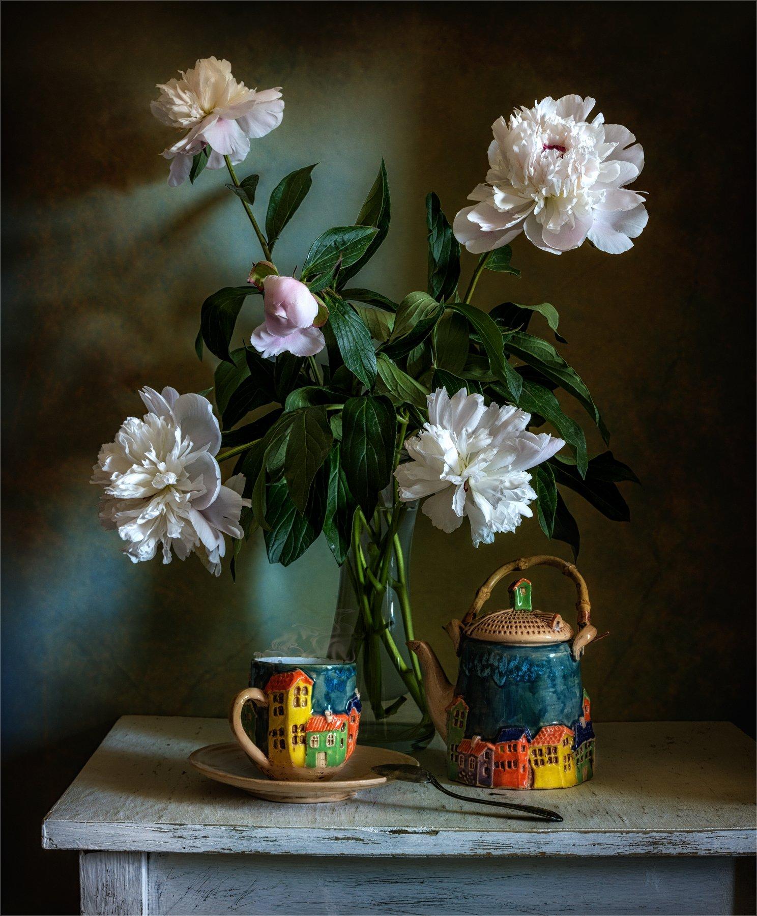 still life, натюрморт,    растение, природа,  винтаж, , цветы, букет, пионы, чай, чашка, чайник, посуда, керамика,, Михаил MSH