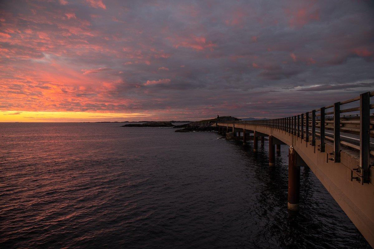 sunset, sundown, color, ocean, bridge, Arnfinn Malmedal