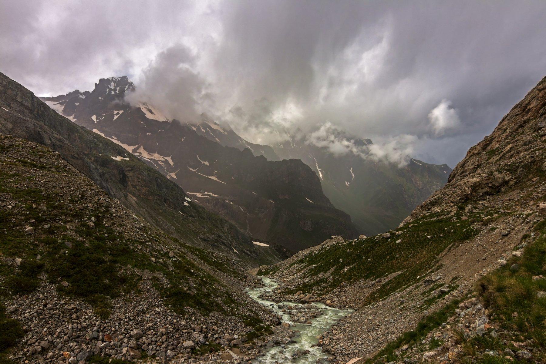 горы, дождь, кавказ, река, Эстелла