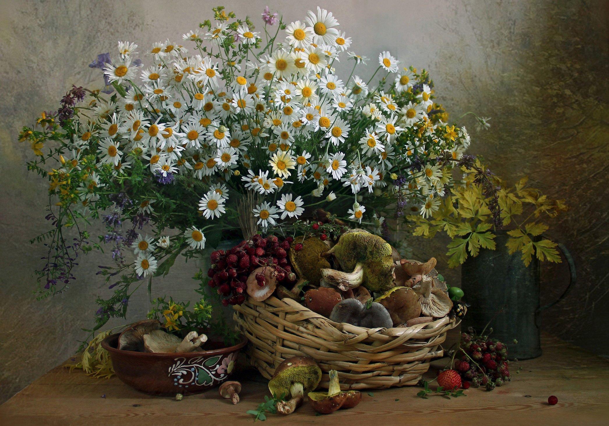 натюрморт, цветы, марина филатова, грибы, лето, грибная пора, Марина Филатова