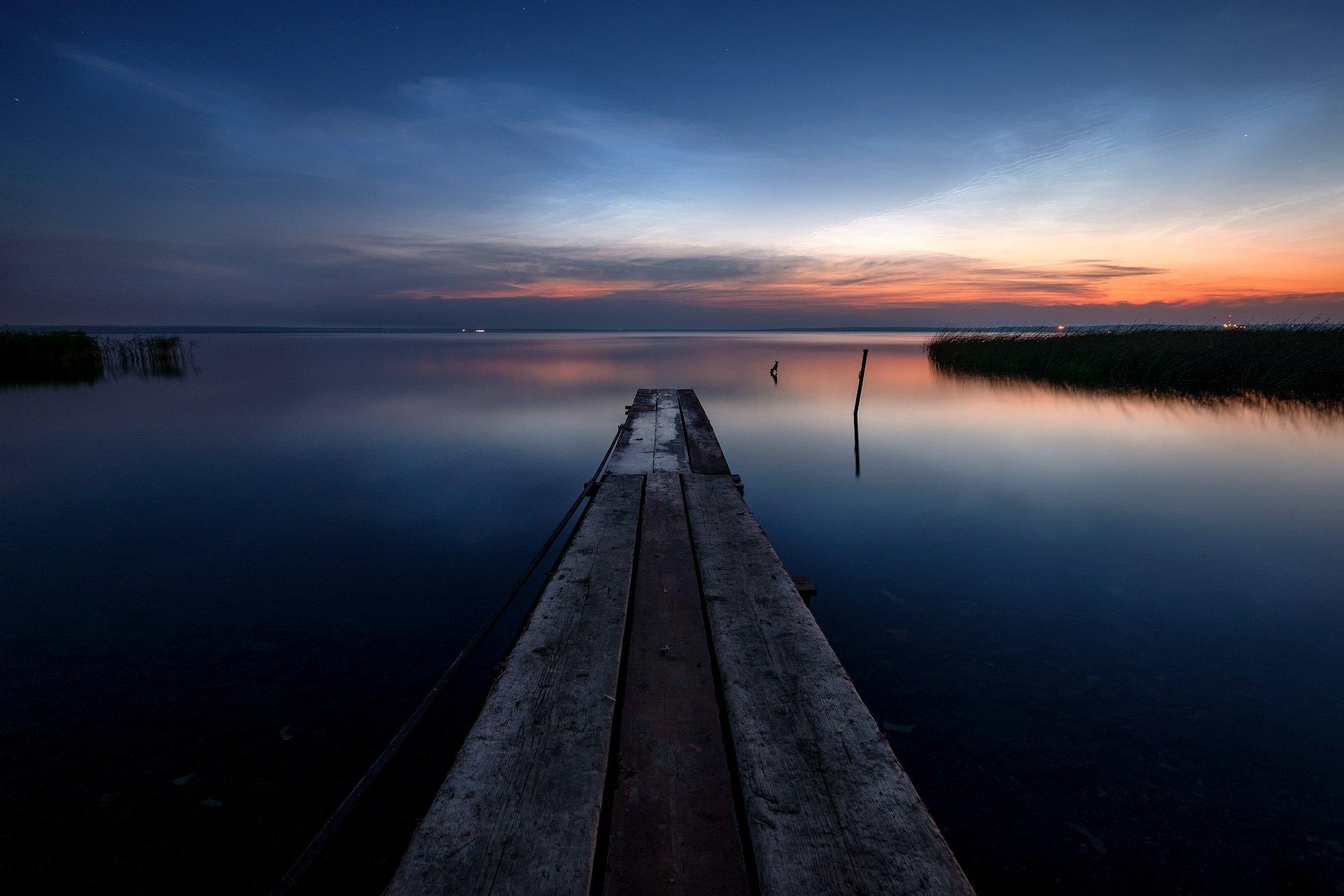 пейзаж, природа, переславль, залесский, плещеево, озеро, ночь, причал, отражения, Андрей Чиж