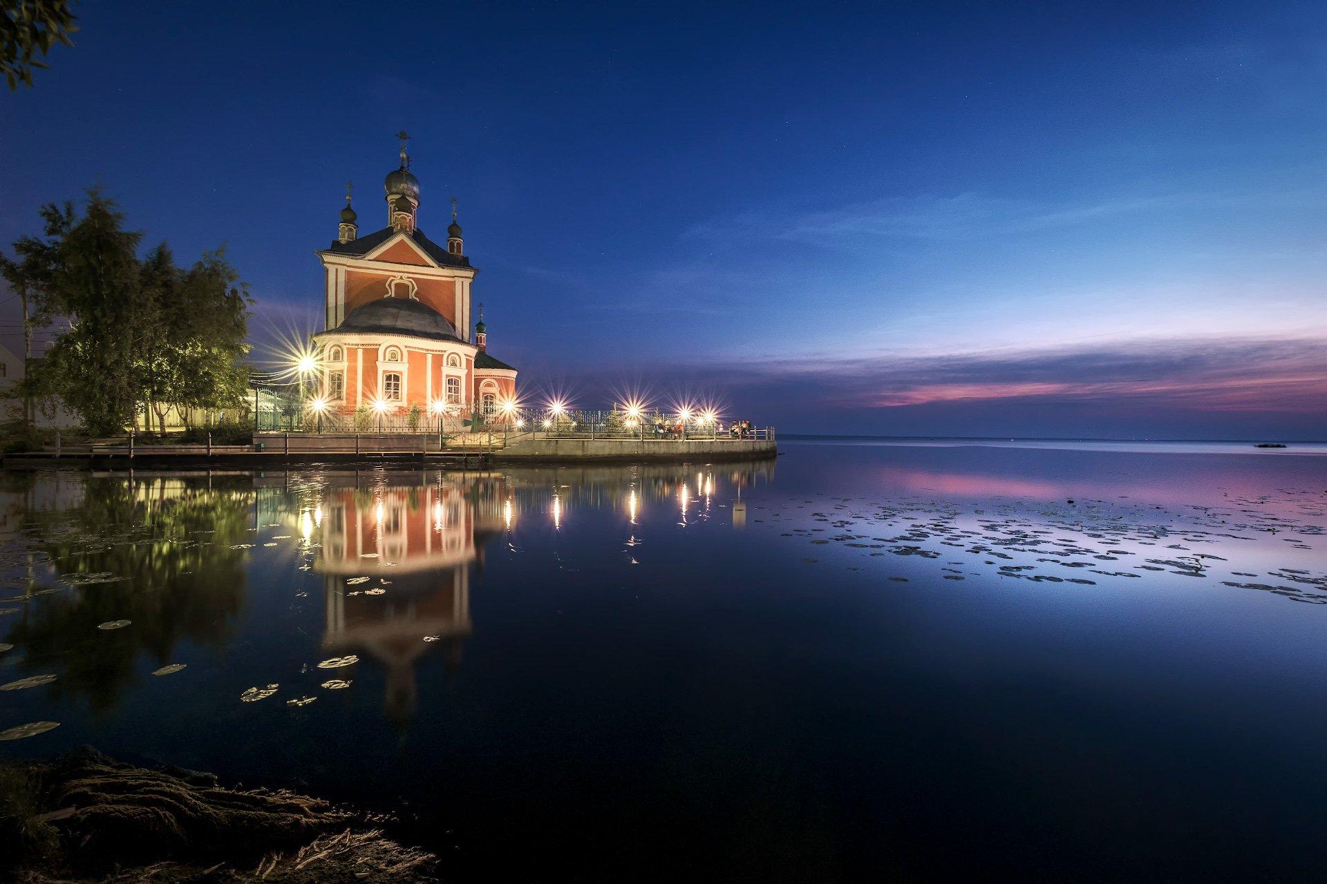 пейзаж, переславль, трубеж, устье, церковь, ночь, июнь, Андрей Чиж