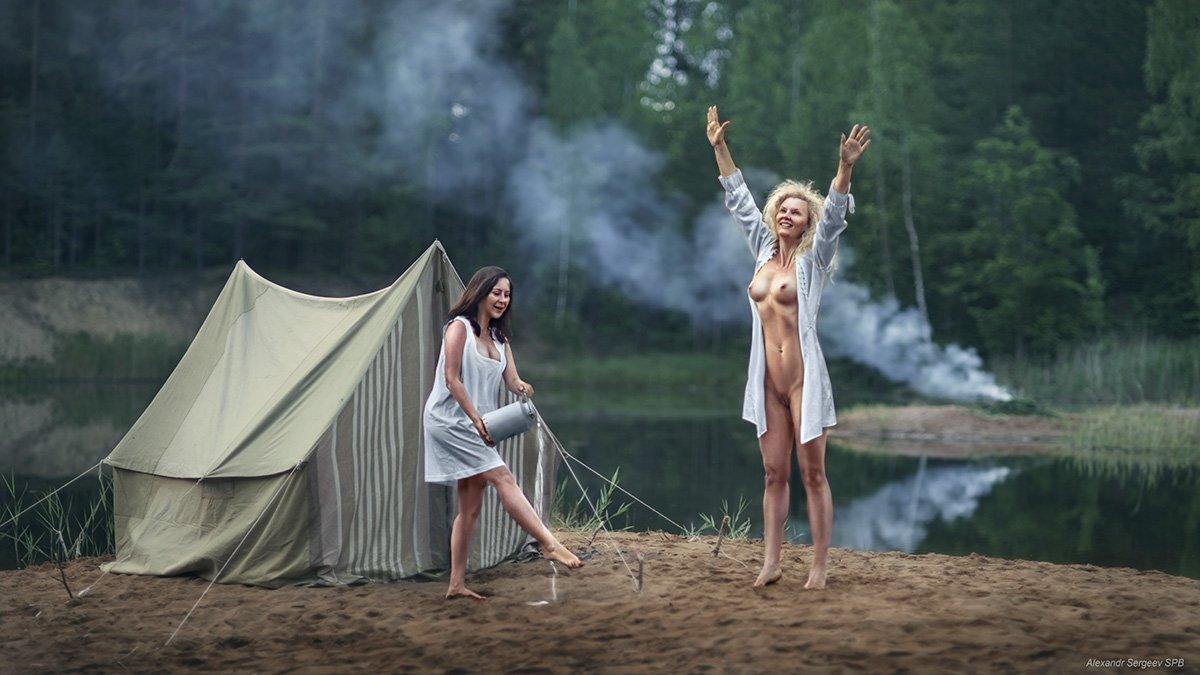 девушка,девушки,обнажение,лес,туман,утро,озеро,арт,ню-арт,палатка,поход,туристы, Сергеев Александр