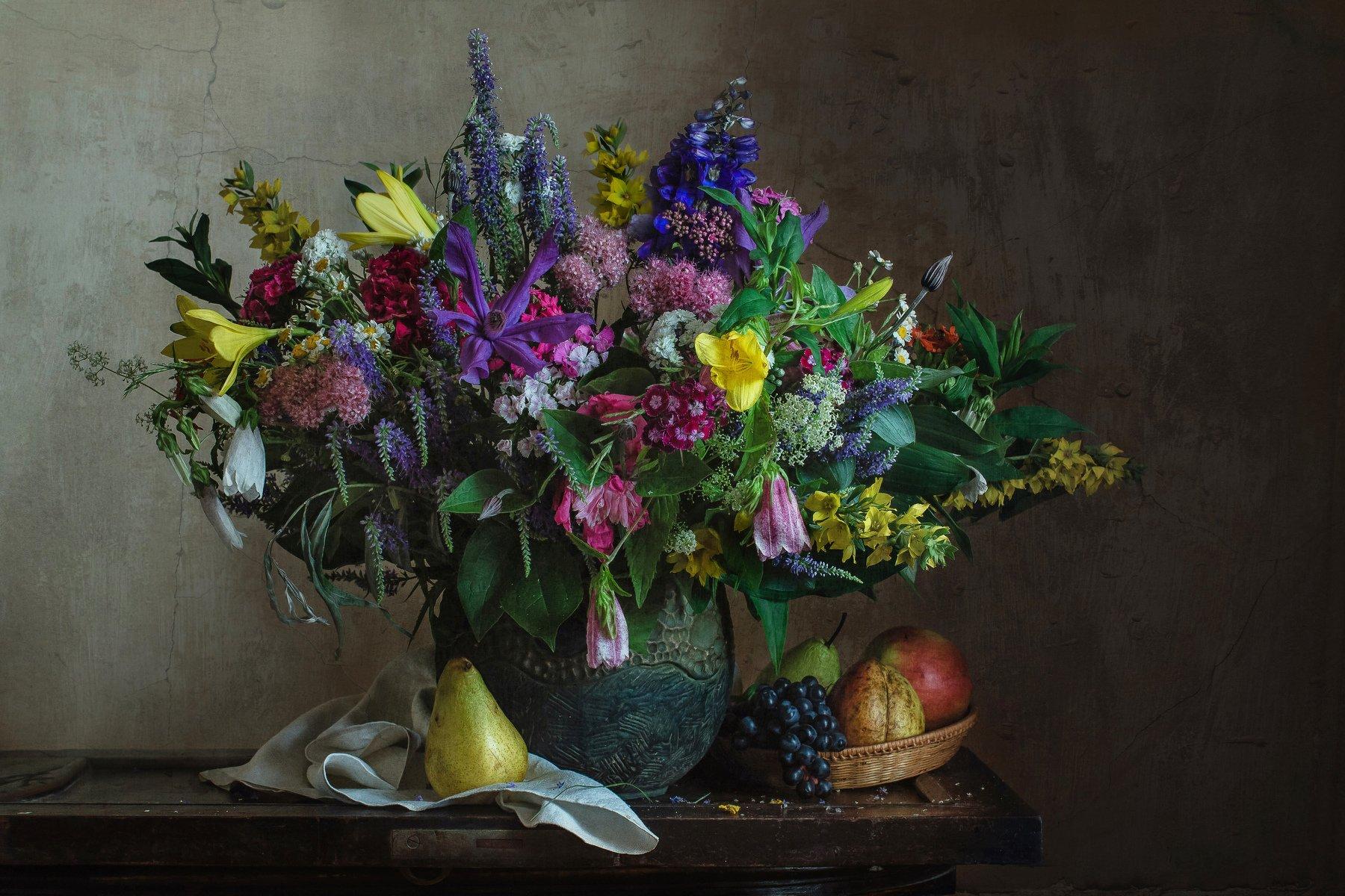 натюрморт, цветы, фрукты, груши, виноград, Анна Петина