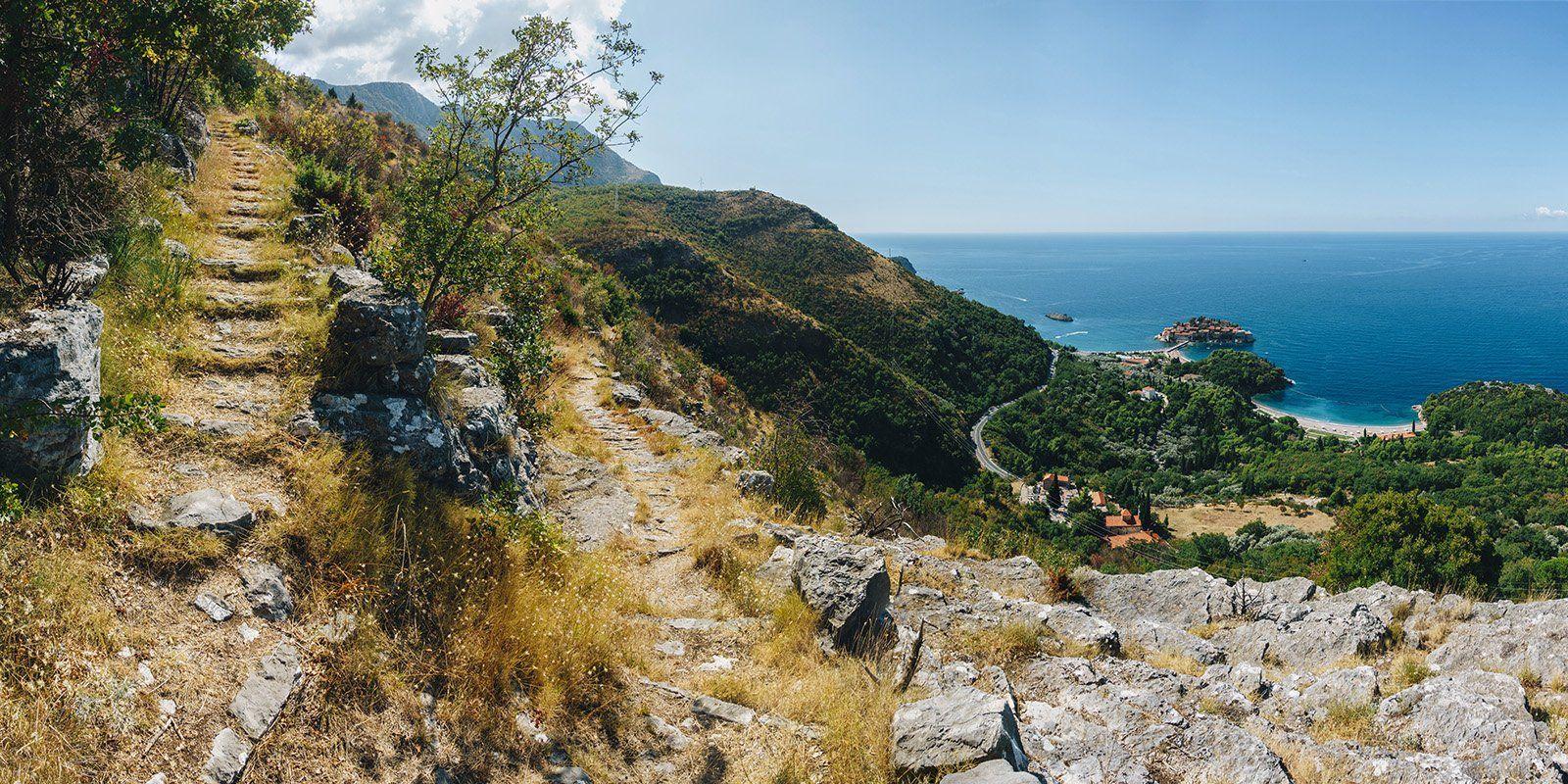 лестница, тропа, пейзаж, море, горы, гора, лето, черногория, деревья, путь, берег, Иван Клейн