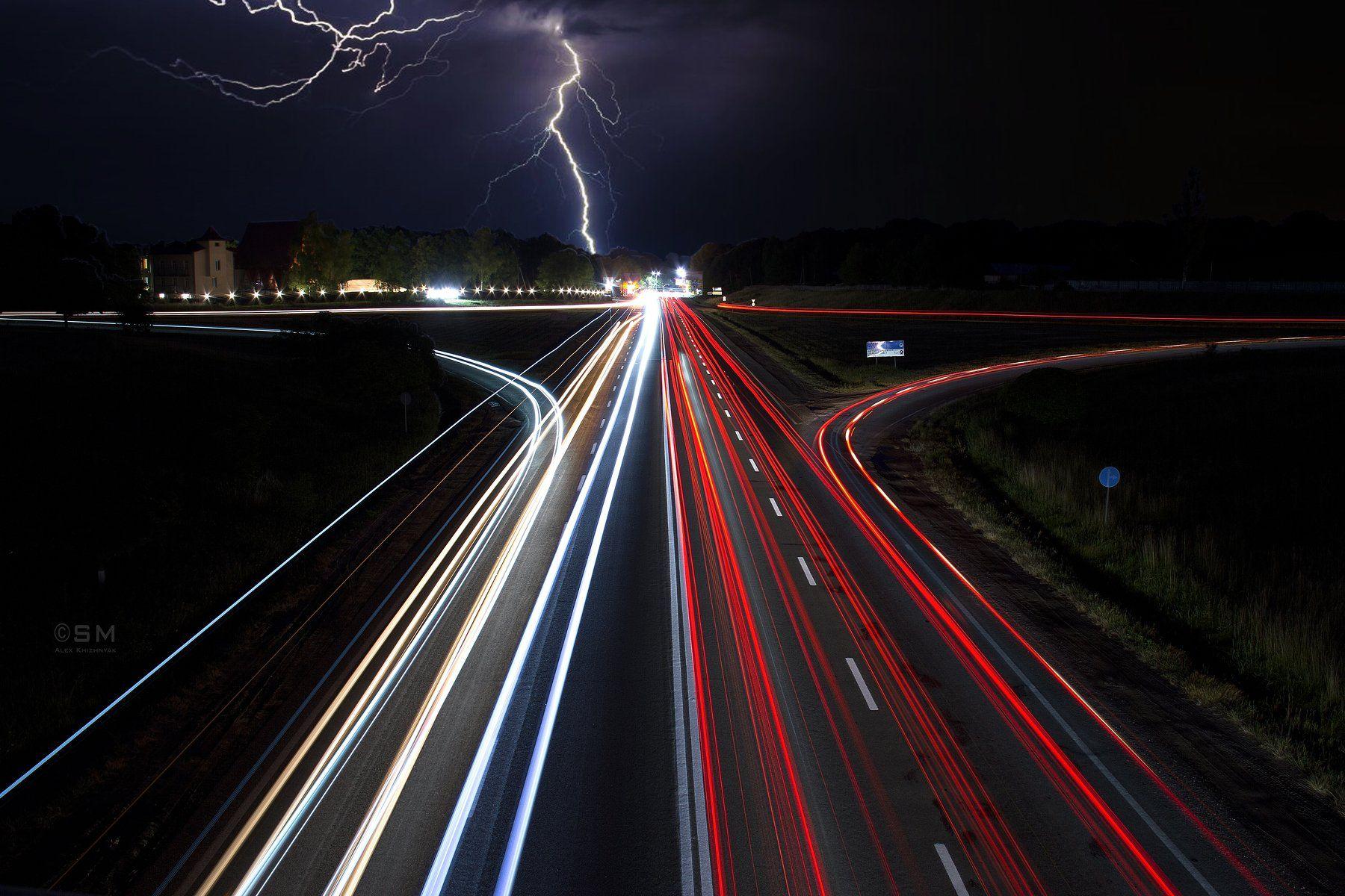 road, street, light, thunder, cloud, night, Simplici_mortE