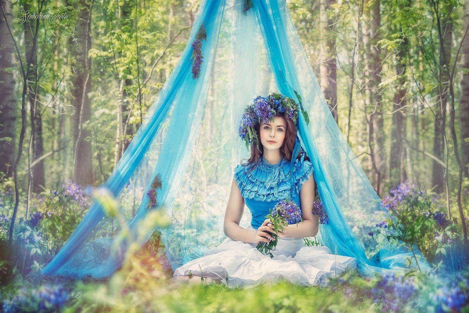 девушка, лес, дйюмовочка, сказка, лето, цветы, girl, summer,blue, fairytale, flower, flowers, Марина Семёхина