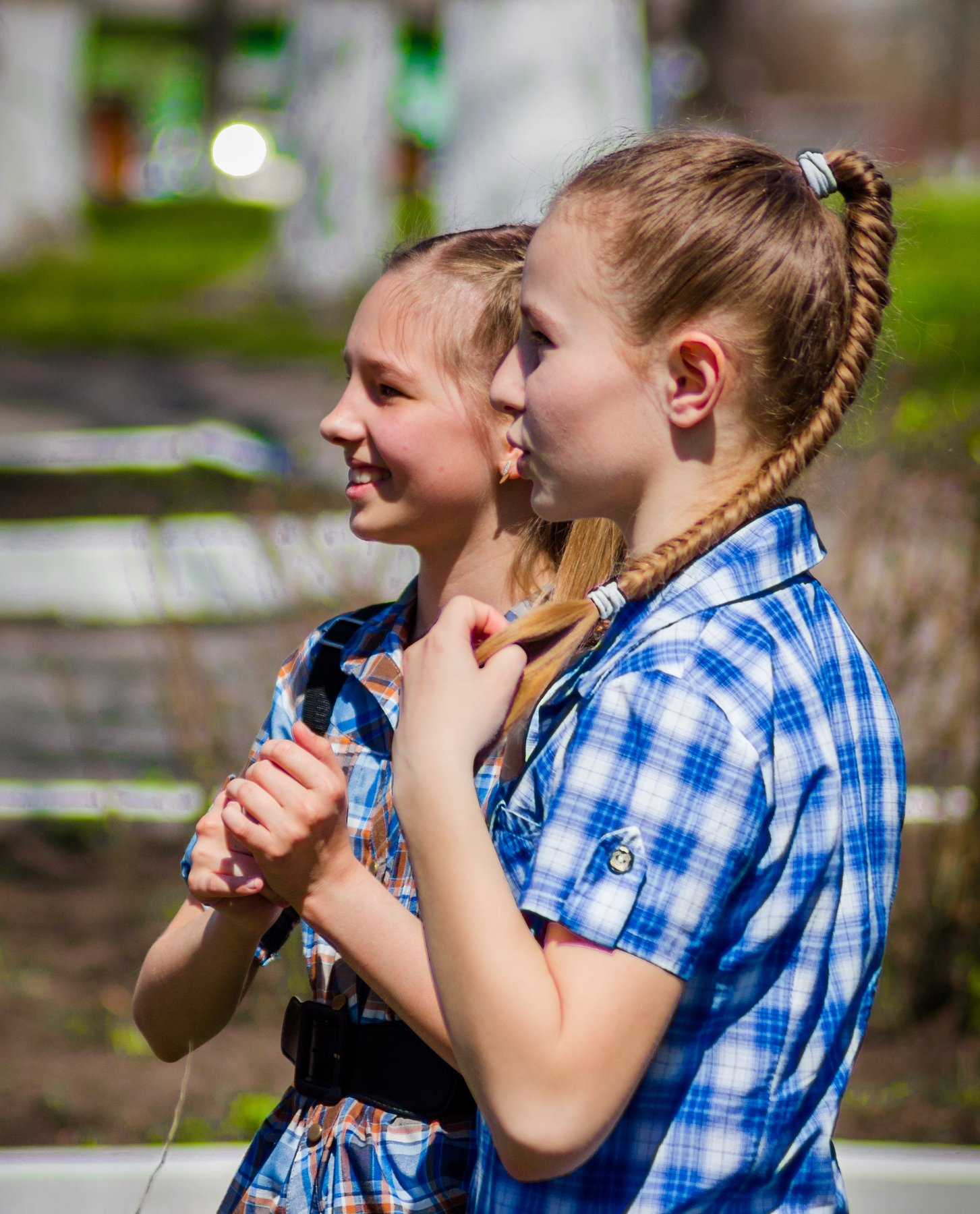 девочки, школьницы, студентки, праздник, в городском парке, Руслан Востриков