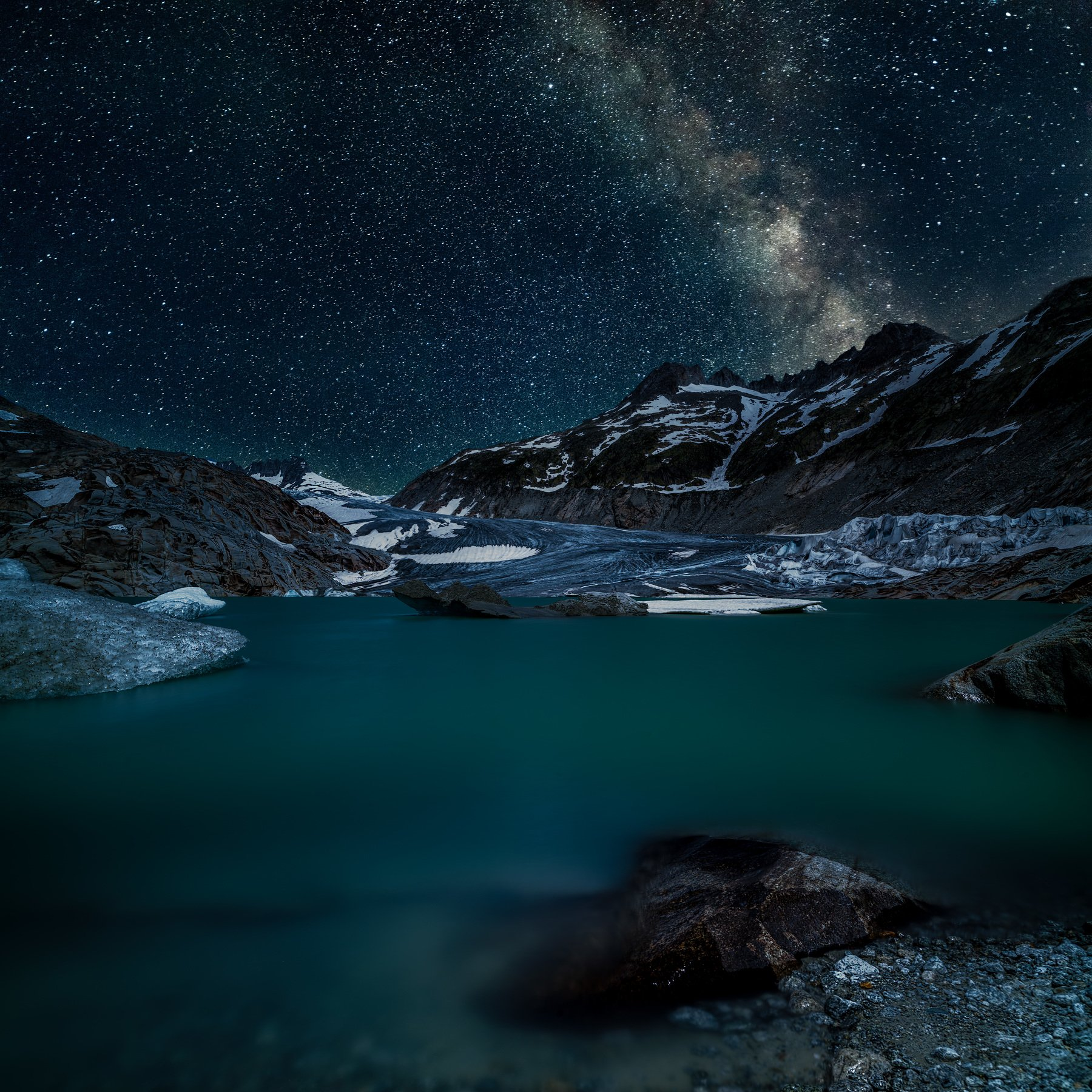 switzerland,rhone glacier,long exposure,stars,lake,aisbergs,stone,mountains,glatcier, Felix Ostapenko