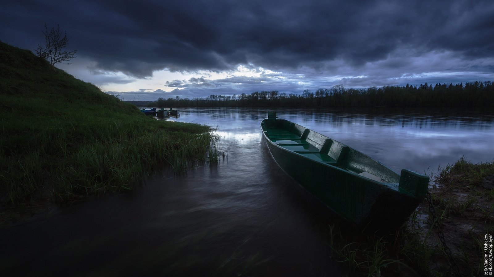 вечер, облака, тучи, река, яйва, лодка, поселок, пермский край, Владимир Ушаков