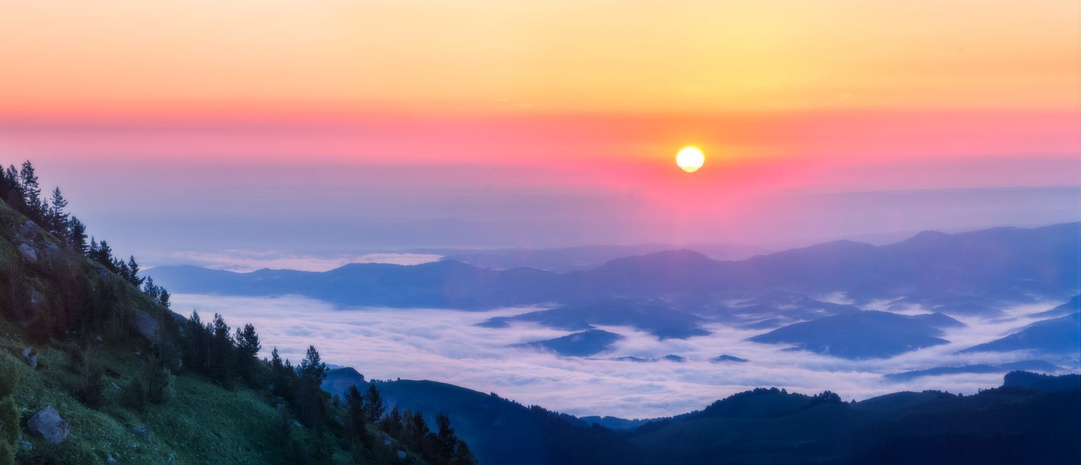 адыгея, пейзаж, рассвет, туман, пейзаж, горы, большой тхач, Алексей Чистяков