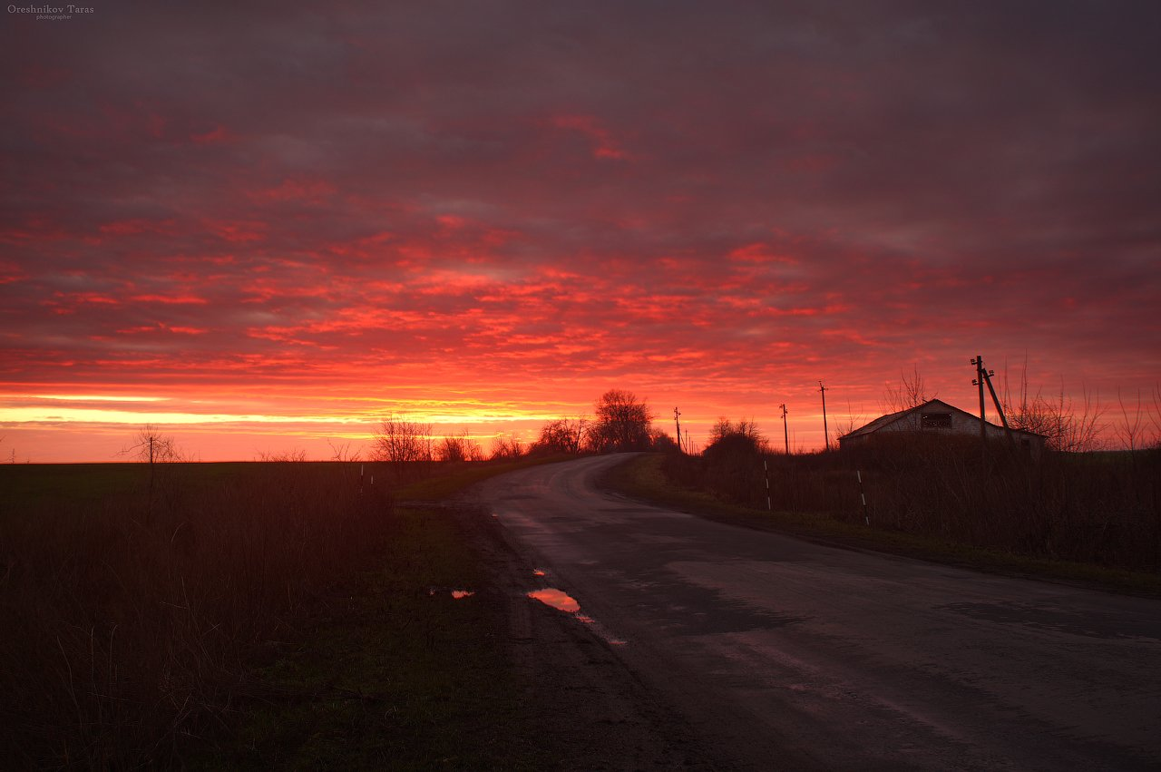 пейзаж,природа,закат,небо,весна,дорога, Taras