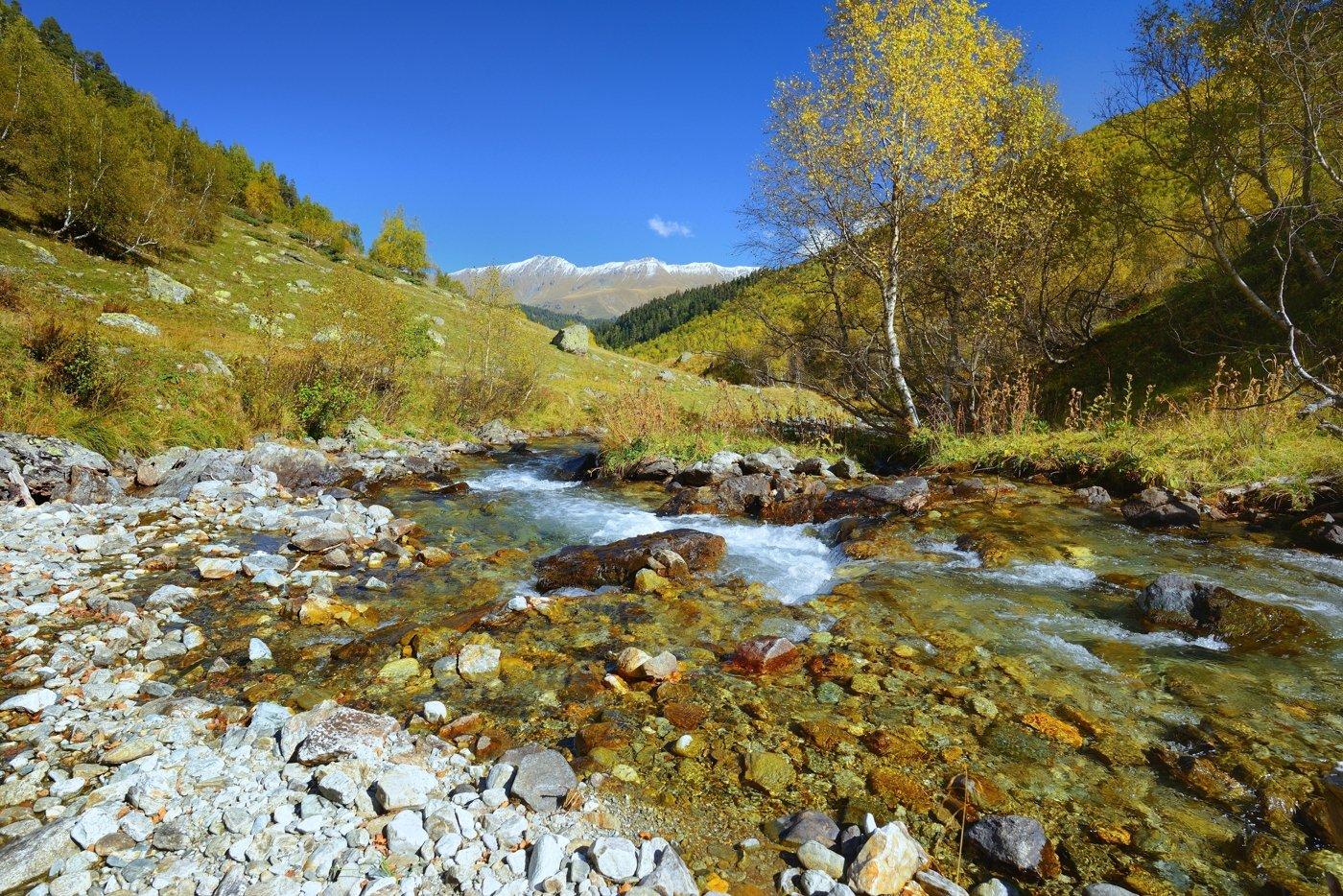 горы осень архыз утро ручей, Александр Жарников