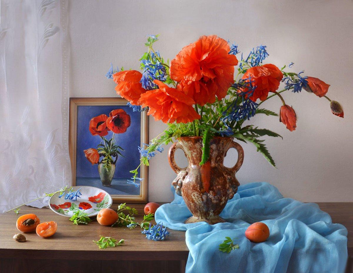still life,натюрморт, цветы, фото натюрморт, маки, лето, картина, июль, Колова Валентина