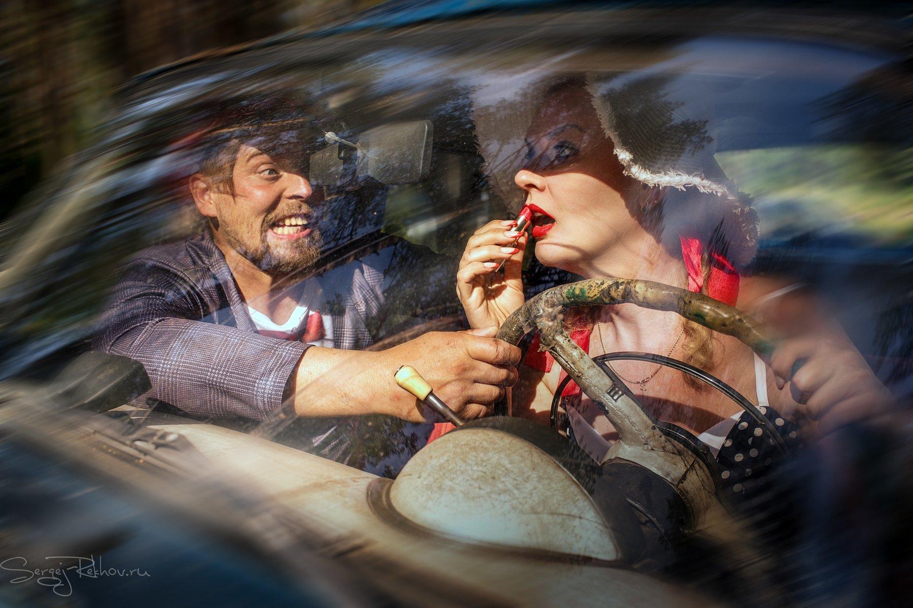 девушка, водитель, авто, скорость, прогулка, Сергей Рехов