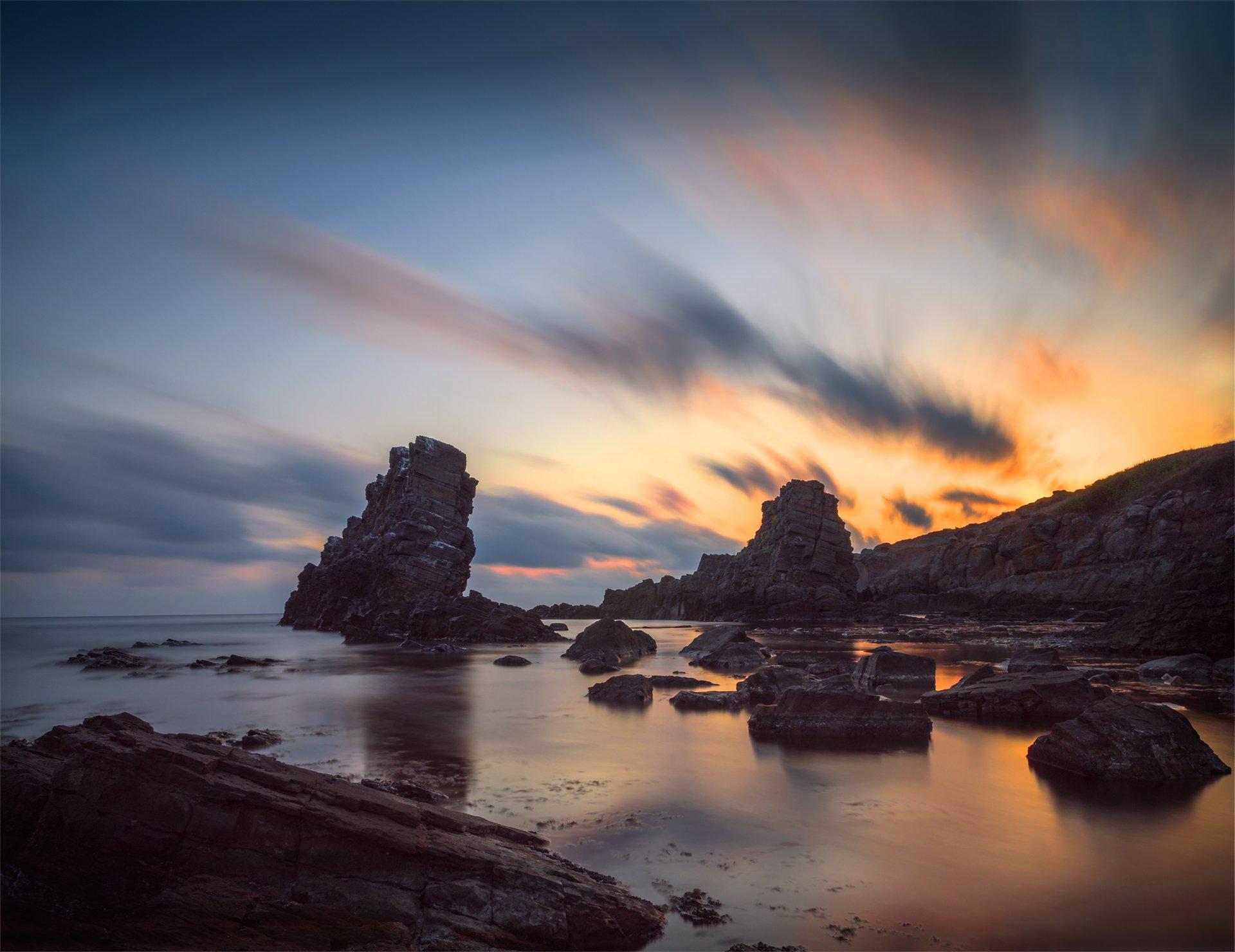 landscape nature seascape rocks castal coast beach sea seaside long exposure scenery  sunrise cloudy bulgaria, Александър Александров