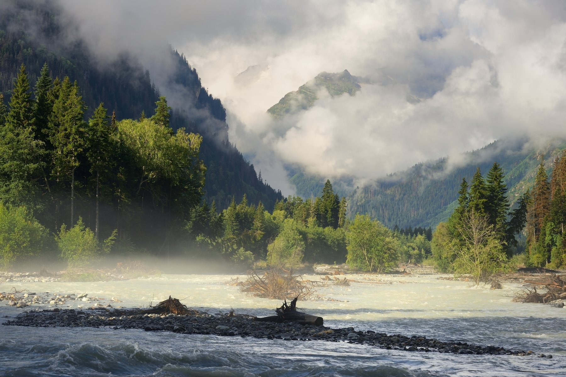 горы лето утро река теберда, Александр Жарников