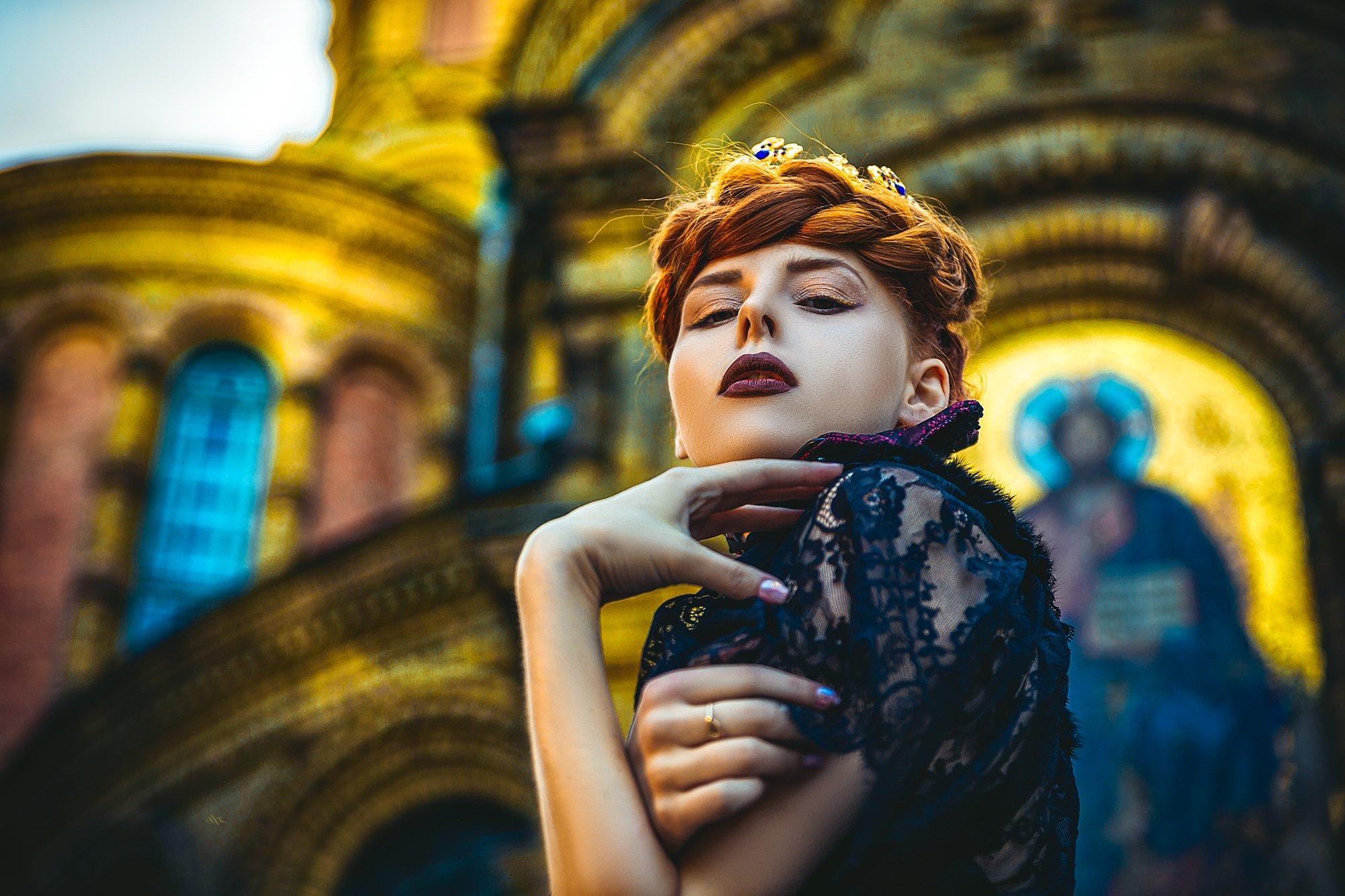 woman, fashion, art, church, portrait, natural light, Руслан Болгов (Axe)