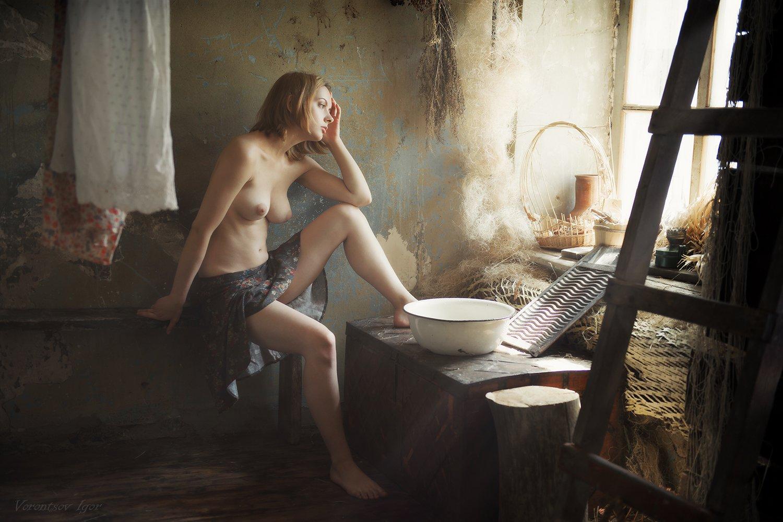 ню, девушка, грудь, обнажённая, стирка, винтаж, Воронцов Игорь