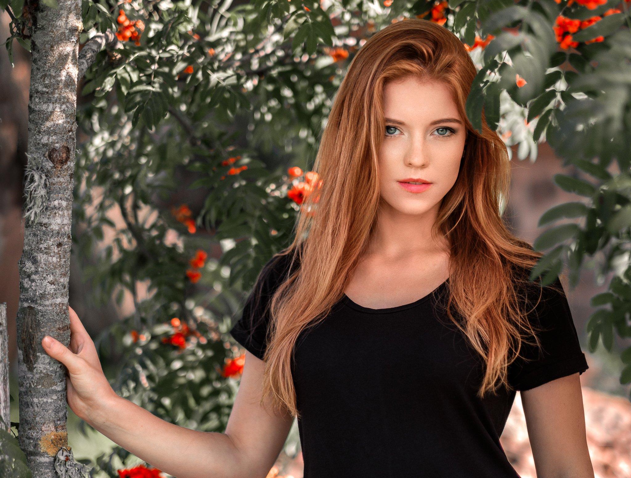 redhead, girl, portrait, summer, beautiful, Saulius Ke