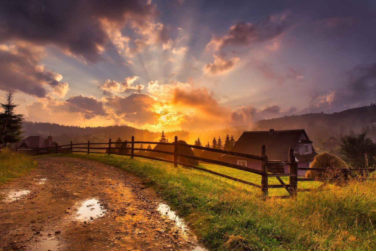 вечер, горы, деревня, закат, июль, карпаты, лето, Вейзе Максим