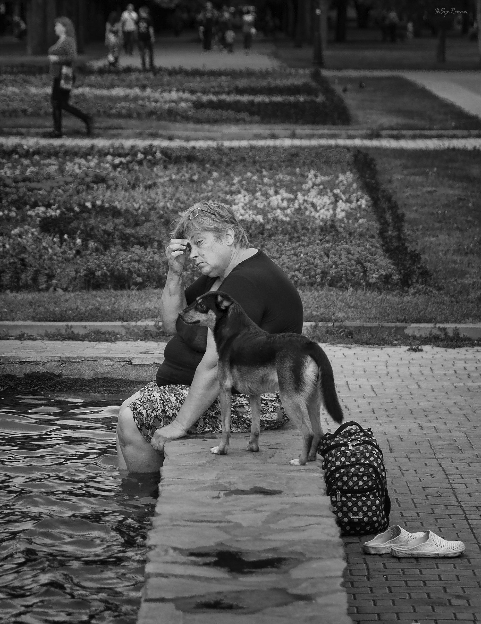 женщина,жанр,улица,собака,вода,фонтан, Roma  Chitinskiy