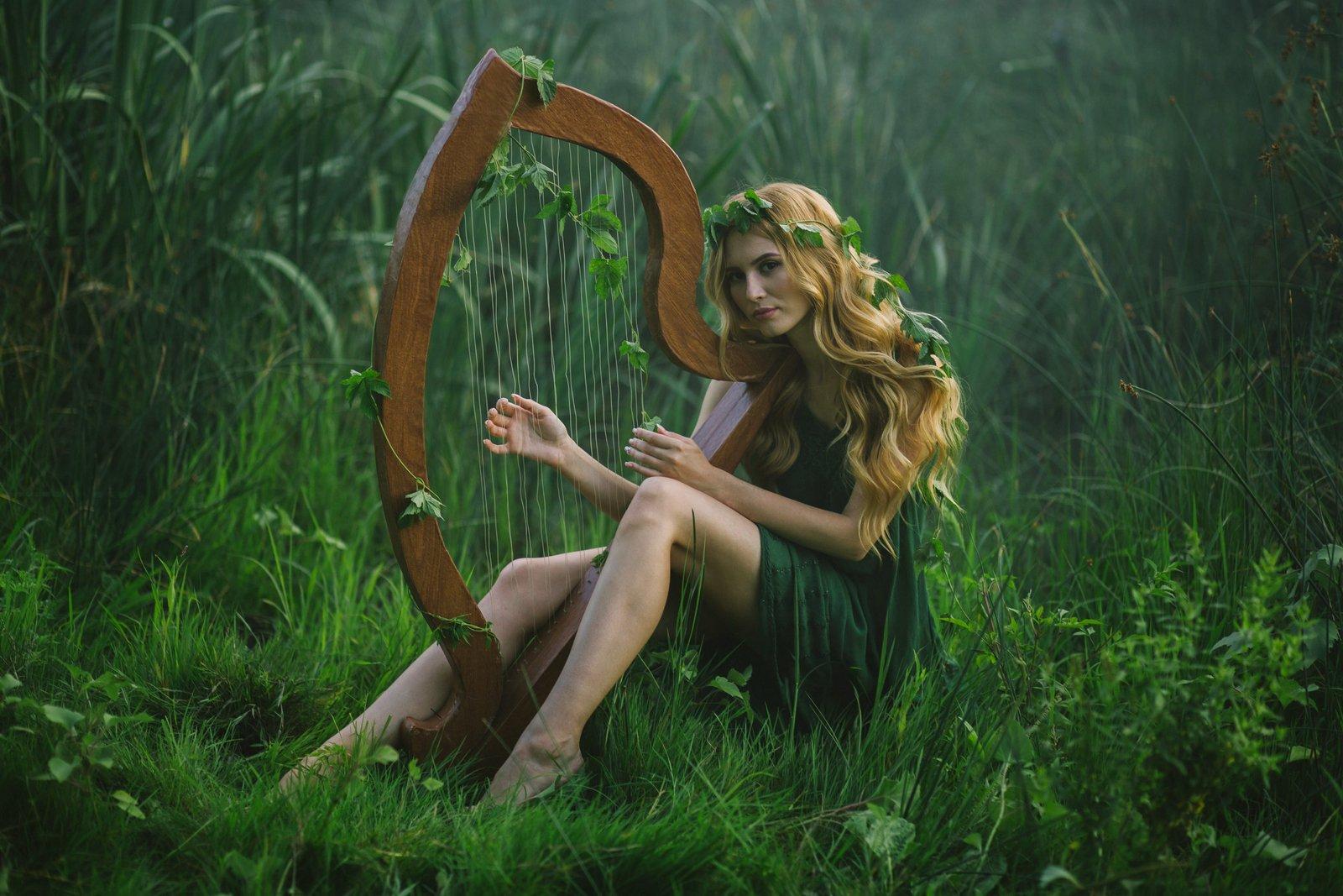 девушка, лес, природа, зелень, эльф, арфа, музыка, Биличенко Оксана