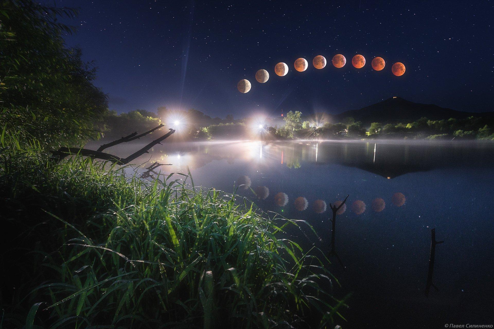 ночь, пейзаж, луна, вода, пруд, затмение, Павел Силиненко
