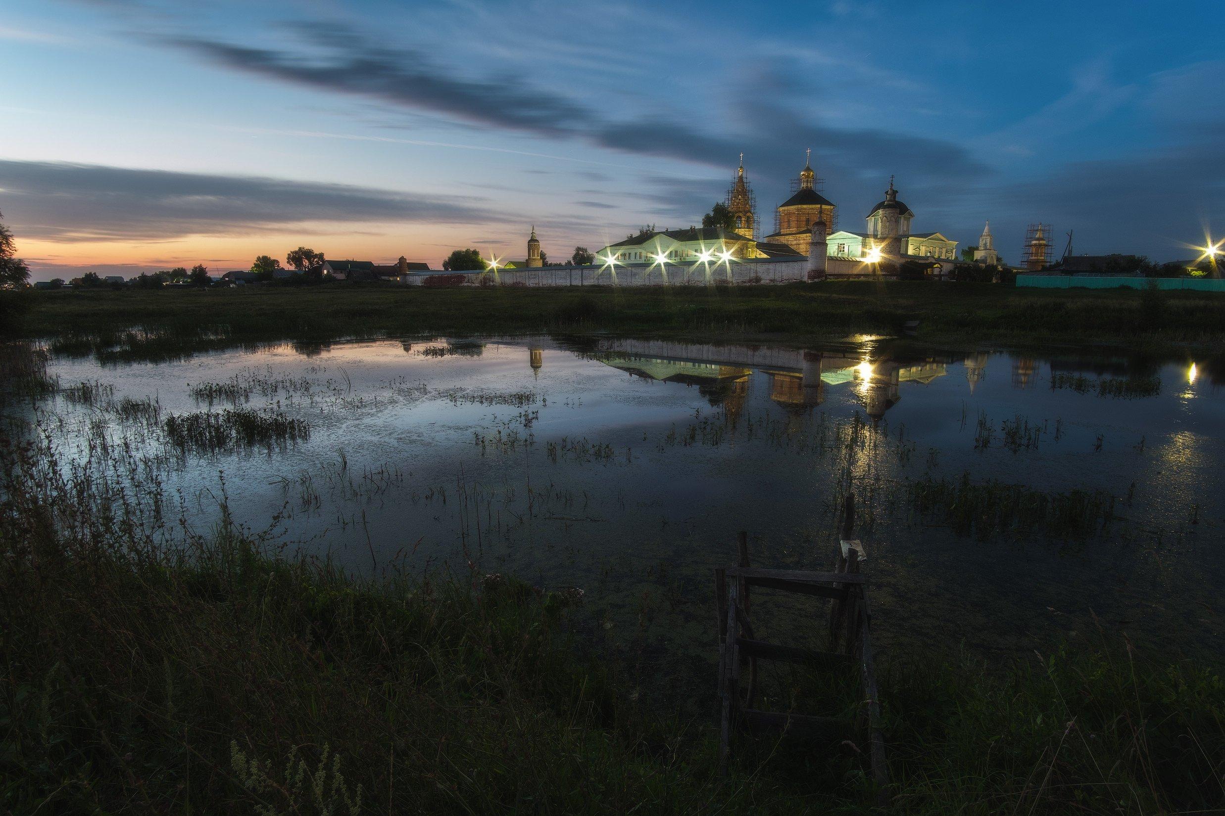 россия, московская область, коломна, старое бобренево, монастырь, церковь, вечер, закат, сумерки, природа, пейзаж, пруд, отражение, Оборотов Алексей