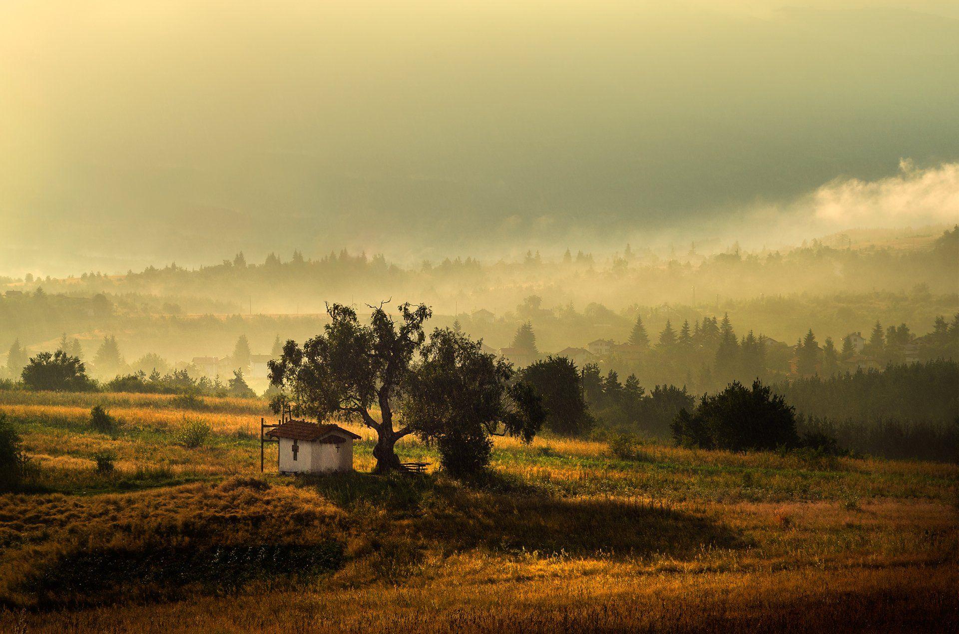 landscape nature sunset foggy scenery chapel mountain vitosha plana bulgaria закат пейзаж, Александър Александров