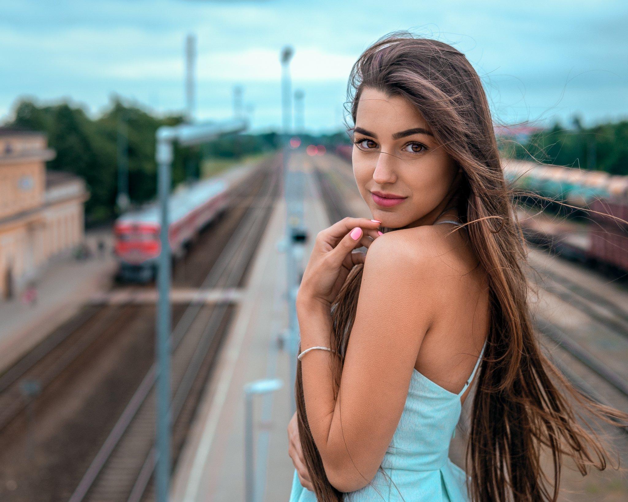 girl, summer, beautiful, portrait, train, station, hair, female, Saulius Ke