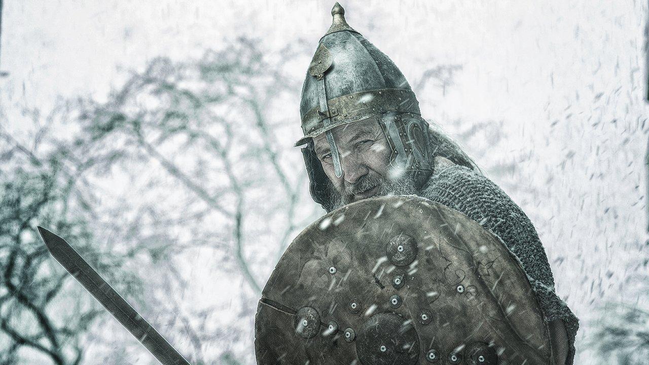 богатырь, русский, русич, меч, шлем, щит, бой, снег, Комарова Дарья