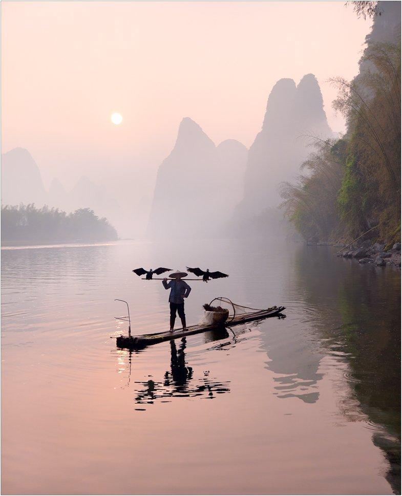 китай, река ли, лодка, рыбак, бакланы, izh Diletant (Валерий Щербина)