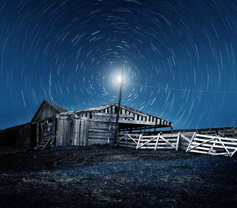 , abandoned, cable, trails, stars, light, ir, Caras Ionut