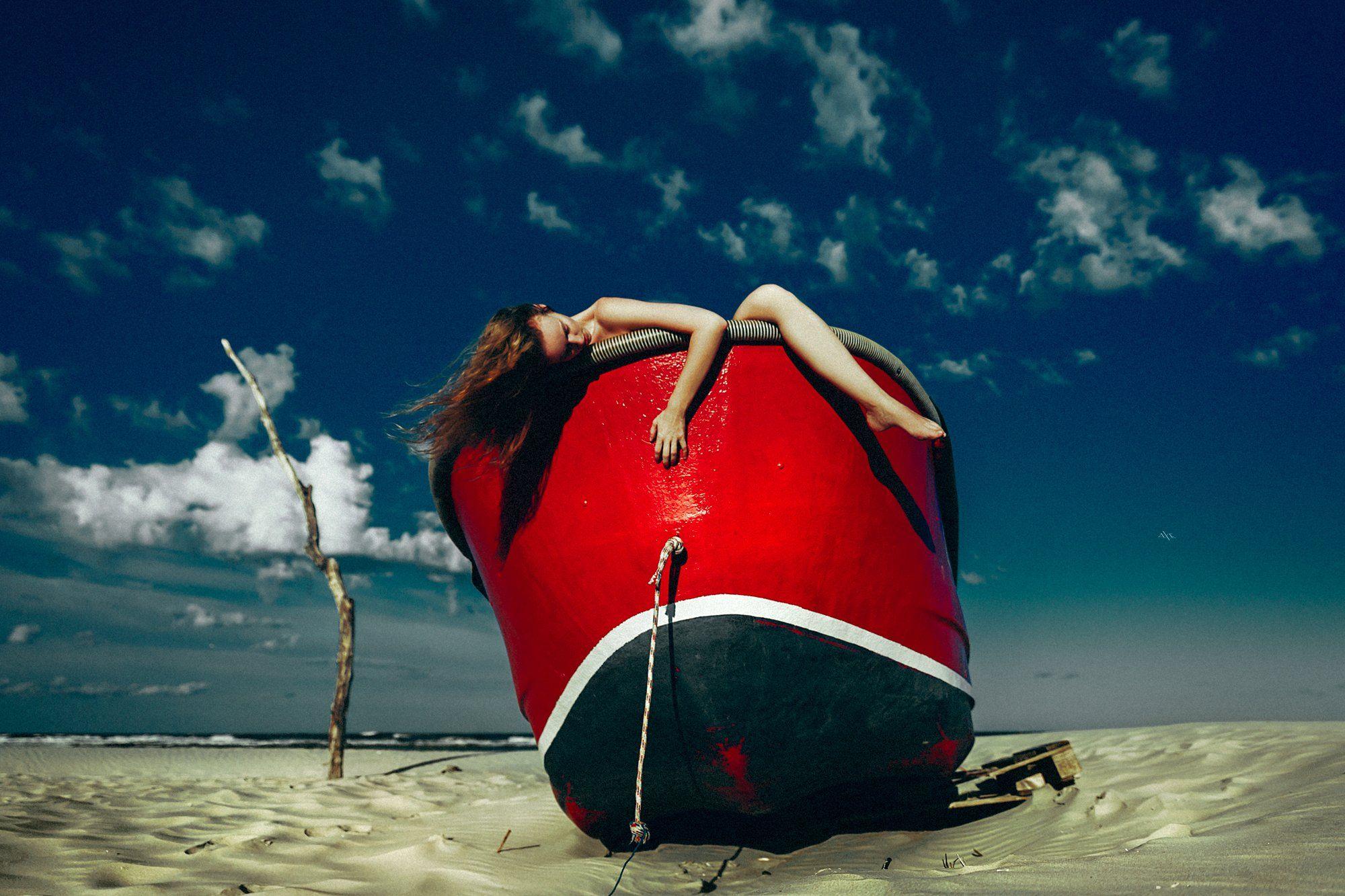 woman, portrait, boat, beach, art, conceptual, natural light, Руслан Болгов (Axe)