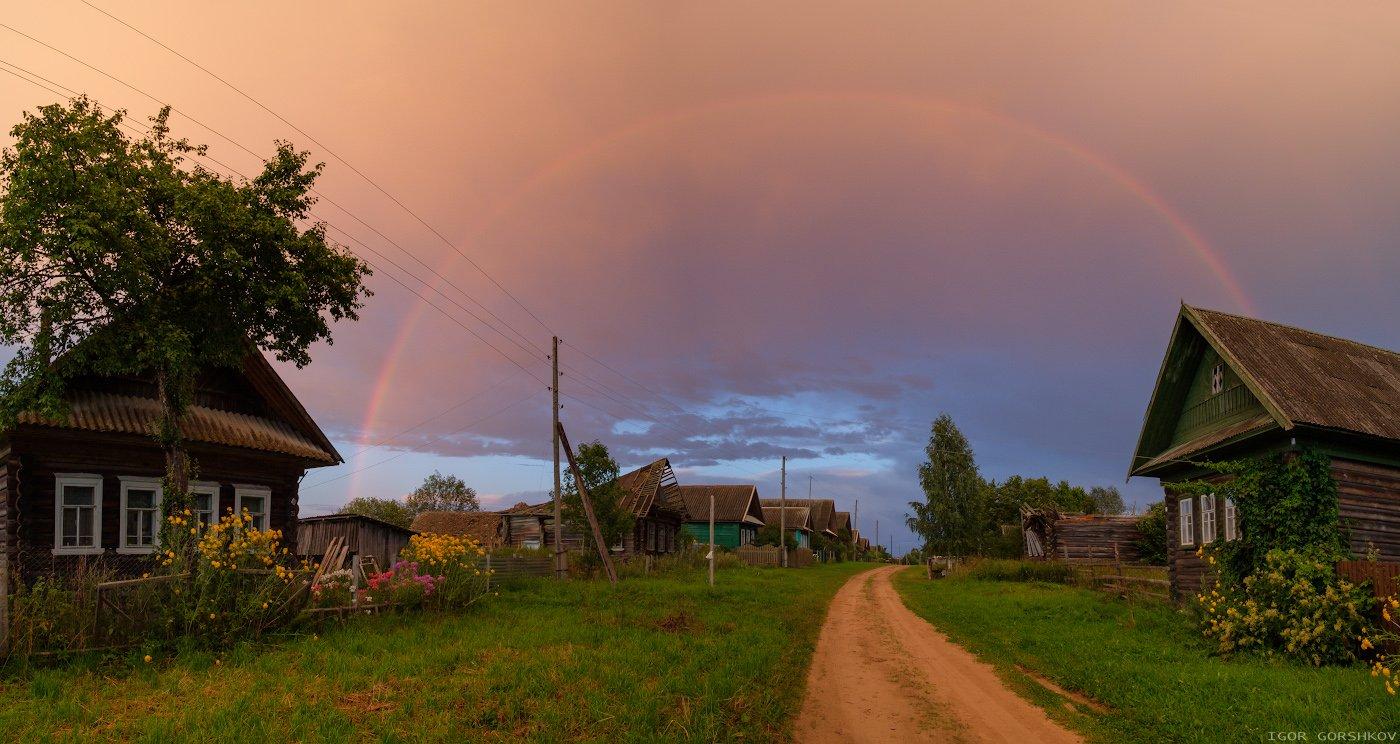 деревня,радуга,закат,вечер,дом,пейзаж,деревянный,улица,деревенский,изба,дождь,гроза,ливень,дуга, Горшков Игорь
