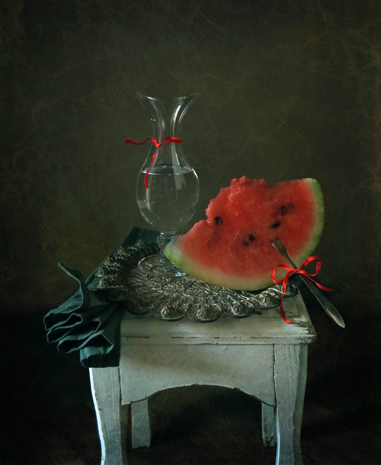 арбуз, лето, лента, вода, поднос, натюрморт, посуда, Елена Лысенко