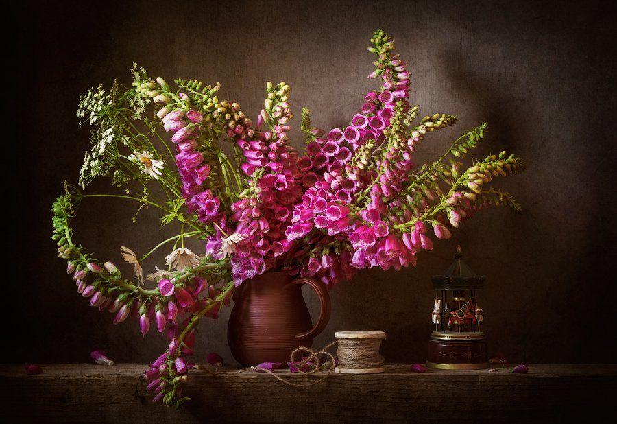 still-life flowers bouquet foxglove, натюрморт, цветы, букет, Anyuta Gillespie