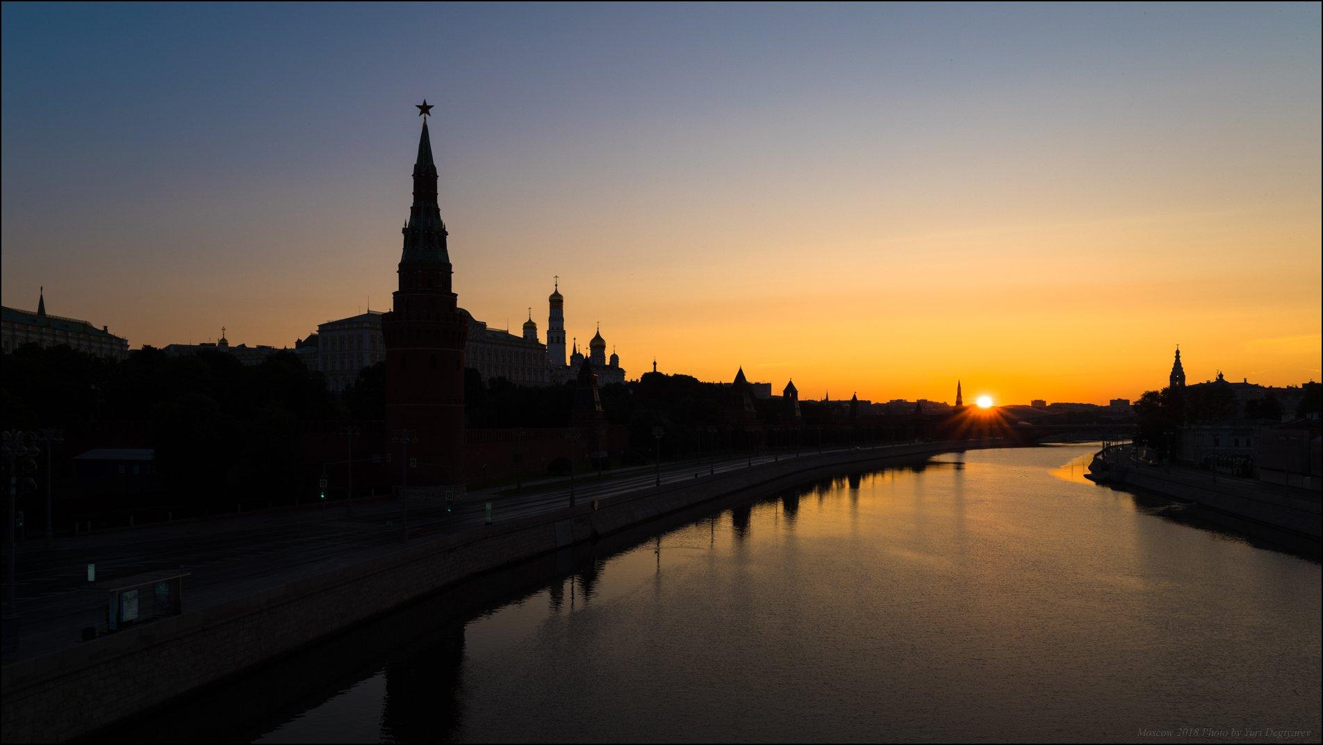 город, Москва, Московский, Кремль, река, силуэт, рассвет, солнце, Юрий Дегтярёв