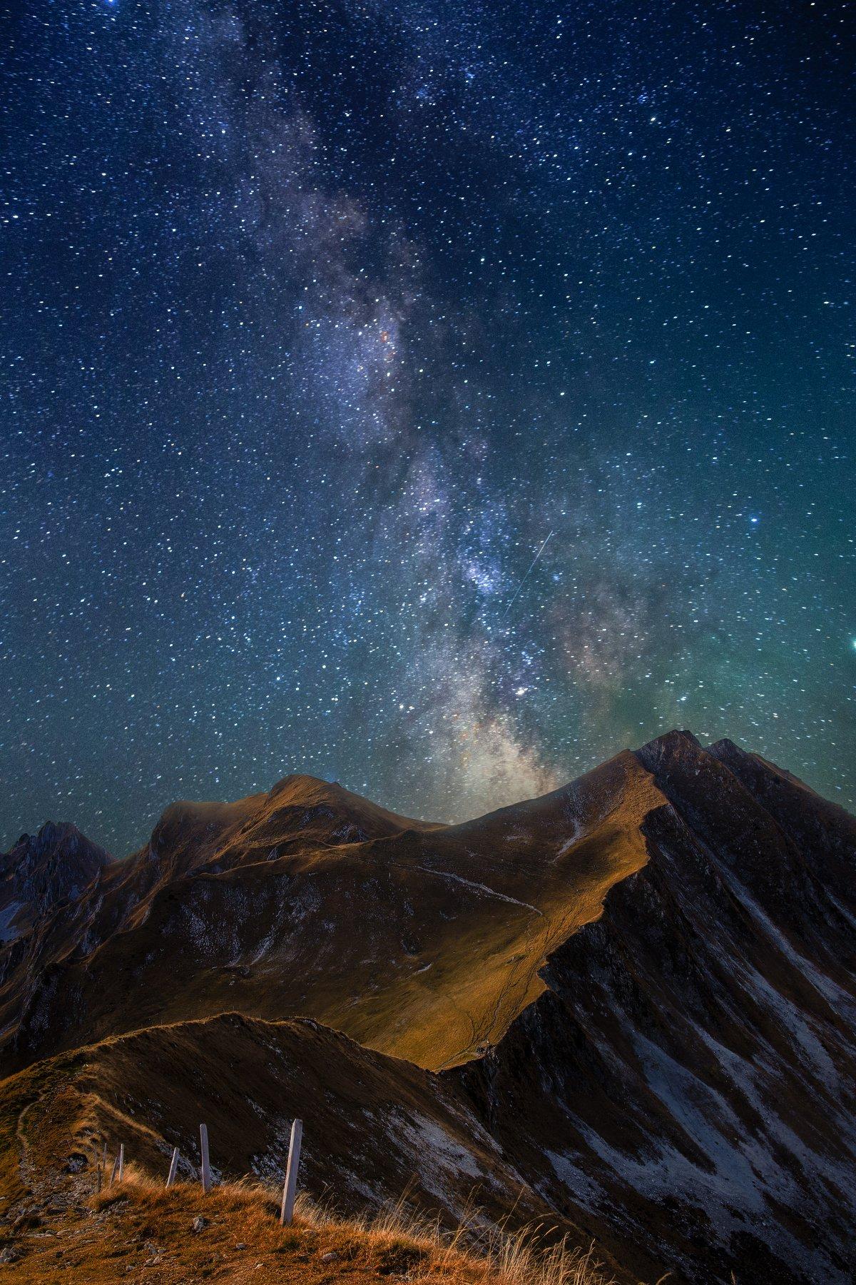 sky,stars,milky way,long exposure,landscape,travel,switzerland,mountains,, Felix Ostapenko
