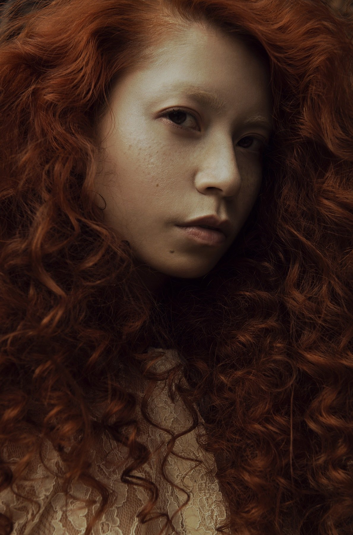 carolinemadison, portrait, beauty, redhair, redhead, portraiture, curlyhair,  asian, emotion, longhair,, Caroline Madison