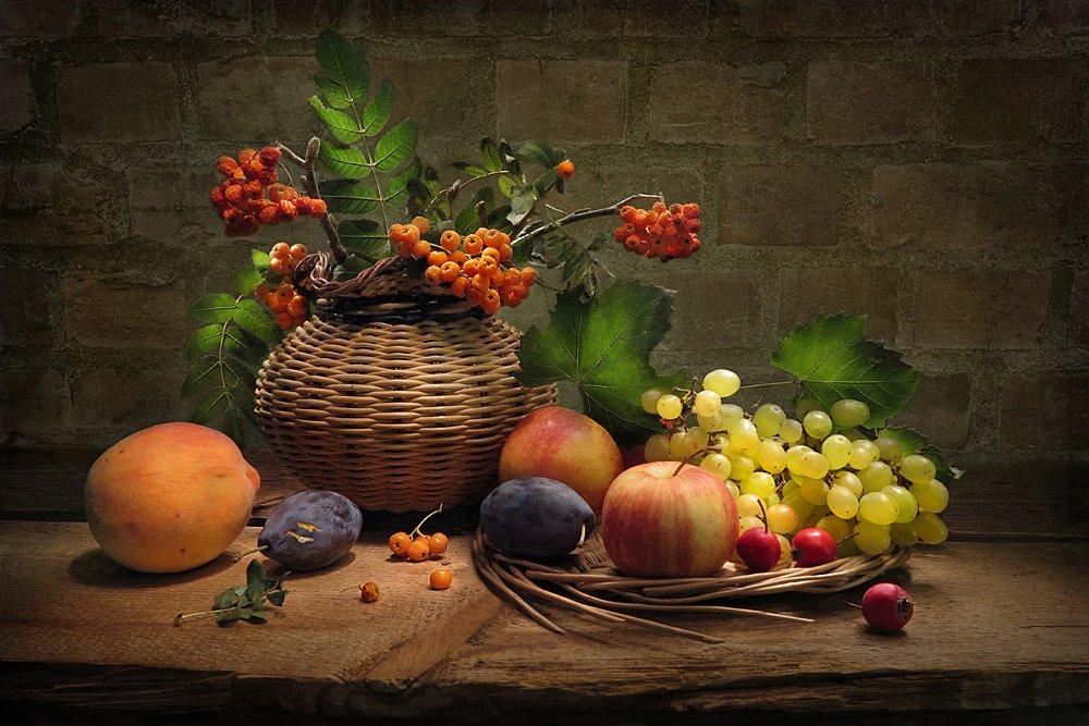 яблоки,виноград, рябина,сливы,персик, Алла Шевченко
