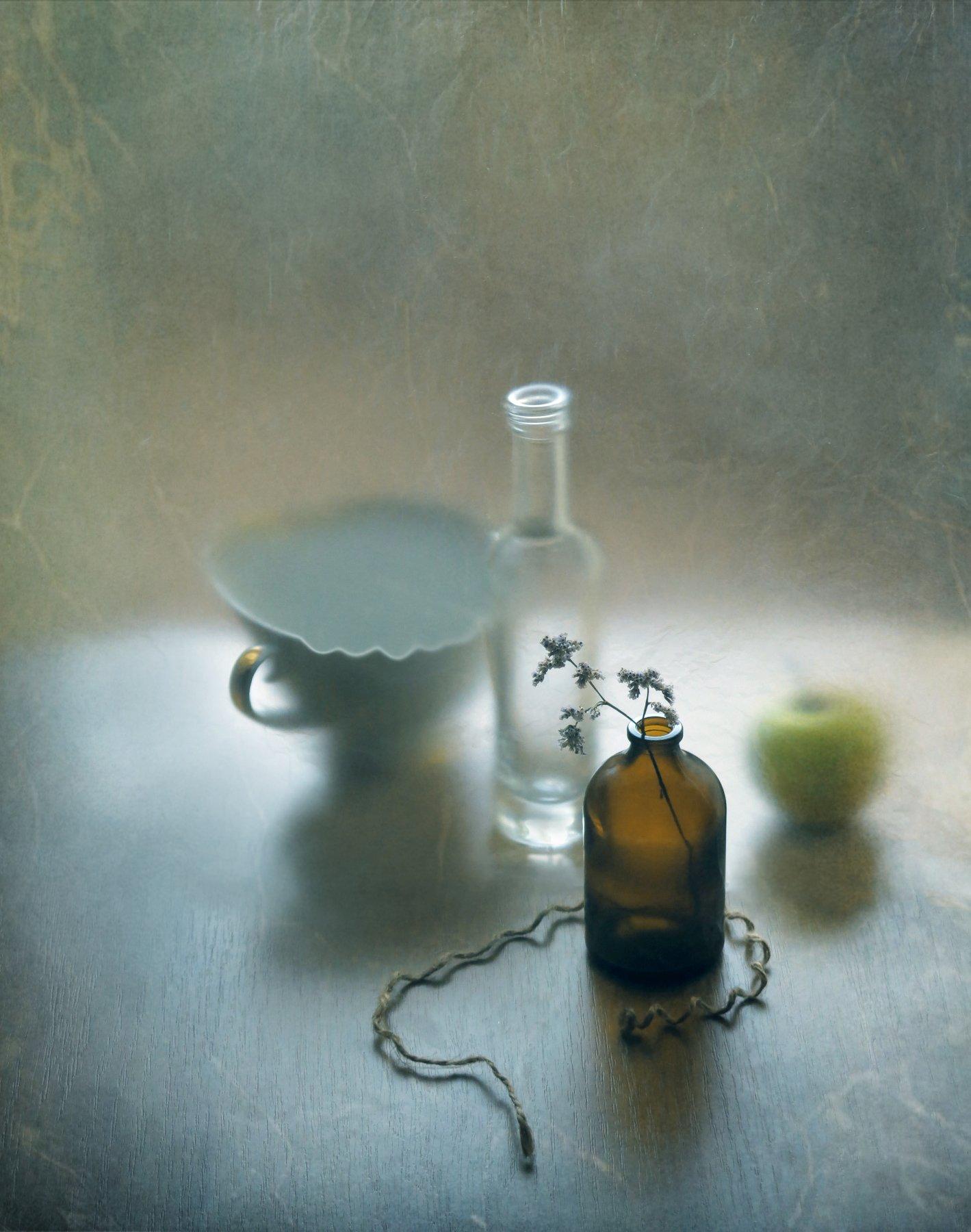 бутылочка, яблоко, травинка, Елена Лысенко