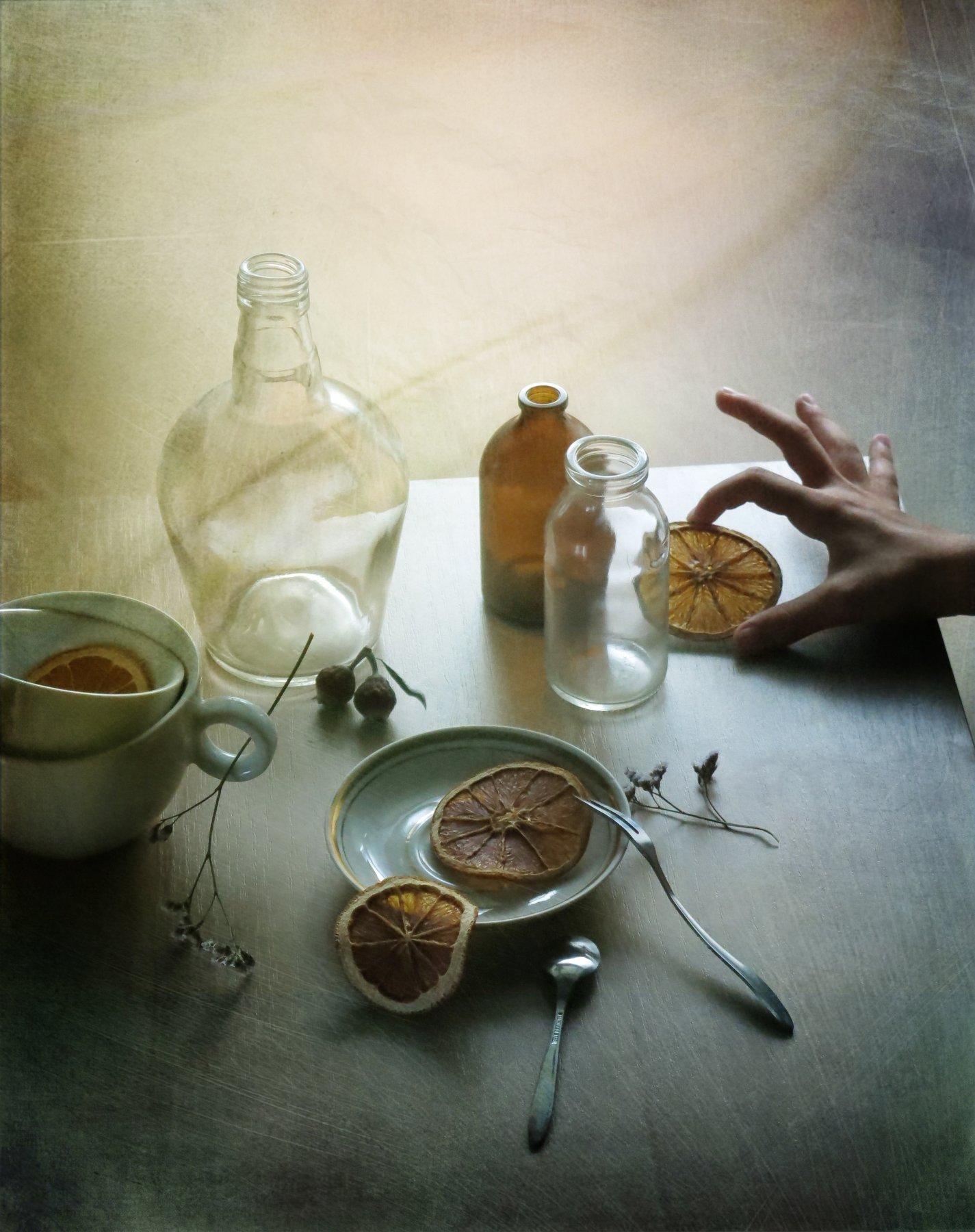 апельсин, посуда, натюрморт, травинка, Елена Лысенко