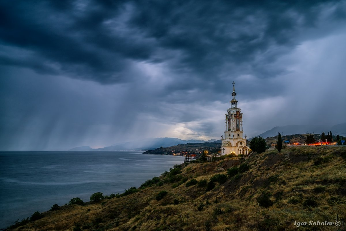 храм-маяк, святой николай чудотворец, малореченское, крым, temple-lighthouse, st. nicholas the wonderworker, malorechenskoe, crimea,, Соболев Игорь